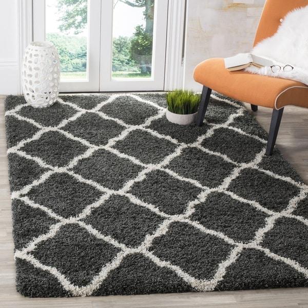 Safavieh Hudson Dark Grey/ Ivory Shag Rug (7' Square)