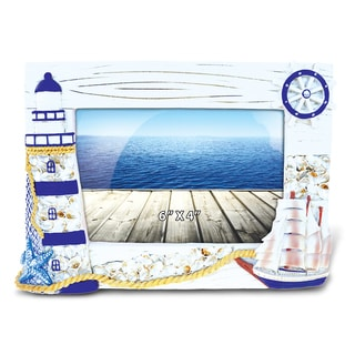 Puzzled Inc Blue Ship and Lighthouse Nautical Multicolor Wood 4-inch x 6-inch Picture Frame
