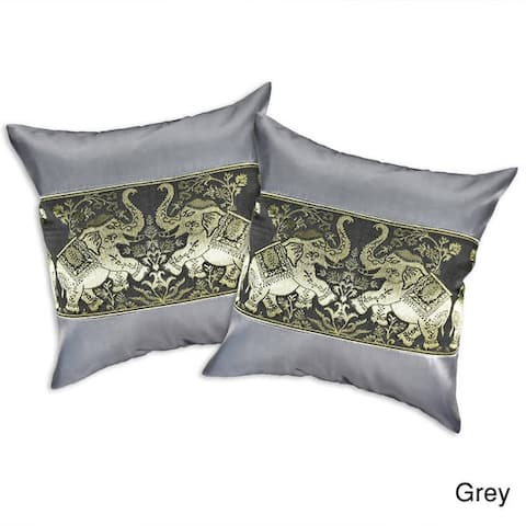 Handmade Playful Elephant Pair Silk Throw Pillow Cushion Cover Set (Thailand)
