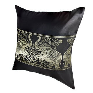 Playful Elephant Pair Silk Throw Pillow Cushion Cover Set (Thailand)
