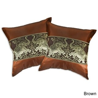Playful Elephant Pair Silk Throw Pillow Cushion Cover Set (Thailand)