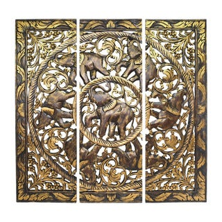 Golden Royal Elephant Family Hand Carved Wood Three-Panel Wall Art 3FT (Thailand)