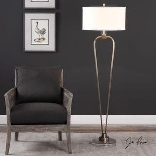 Uttermost Valkaria Curved Brass Floor Lamp