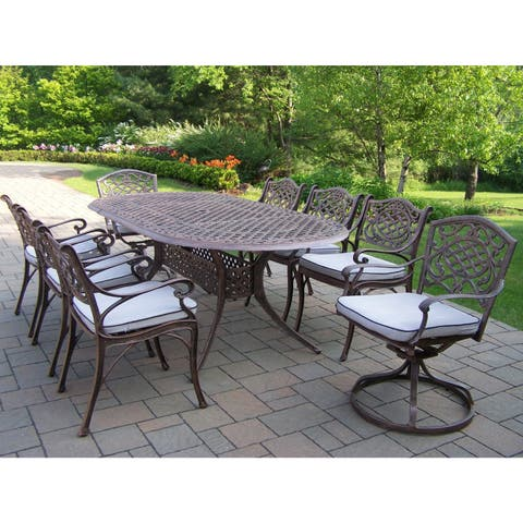Dining Set with Oval Table, 6 Cushioned Chairs and 2 Swivel Rockers