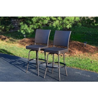 Merit Resin Wicker Swivel Bar Stools (Set of 2)