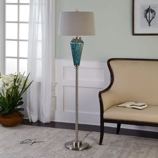 Uttermost Almanzora Blue Glass Floor Lamp