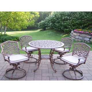 Dakota 5-Pc Dining Set with 1 Round Table and 4 Cushioned Swivel Rockers