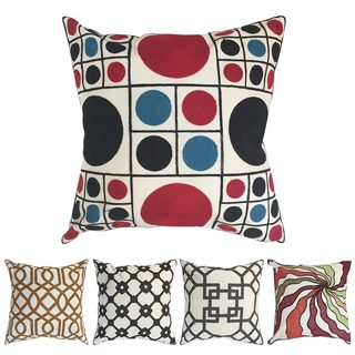 Embroidered Geometric Design Throw Pillow