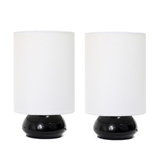 Simple Designs Black Metal and White Fabric Mini Touch Lamps (Set of 2)