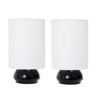 Simple Designs Black Metal and White Fabric Mini Touch Lamps (Set of 2) (2 options available)
