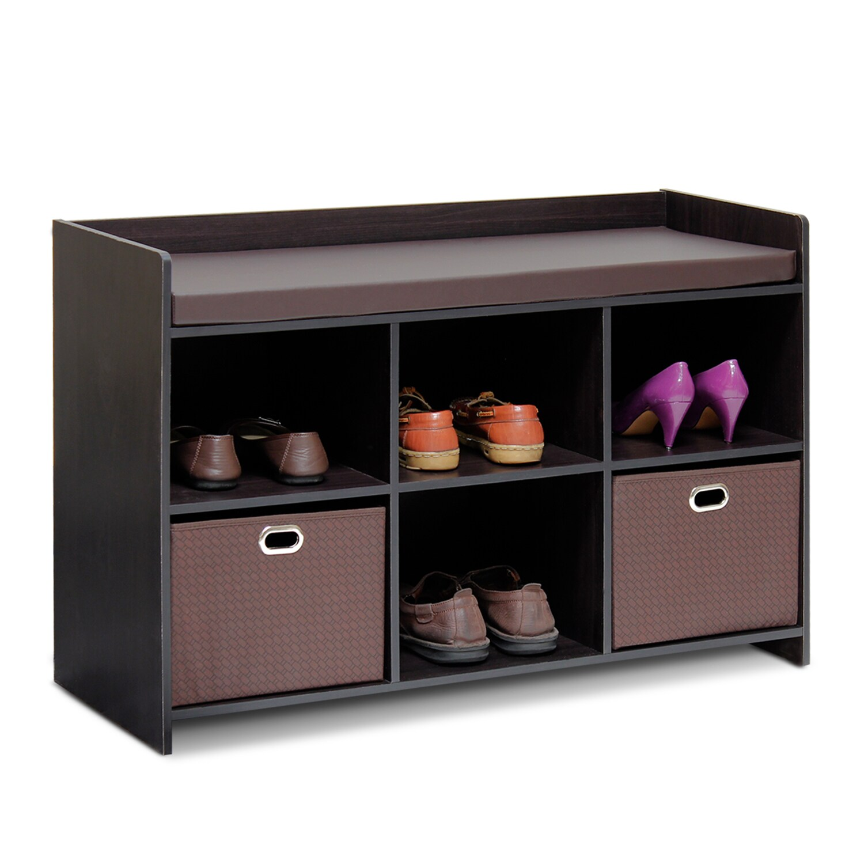 Furinno Econ Brown Cushioned Storage Bench (Espresso/Brow...