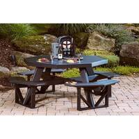 Poly Furniture Wood Octagon Walk in Picnic Table