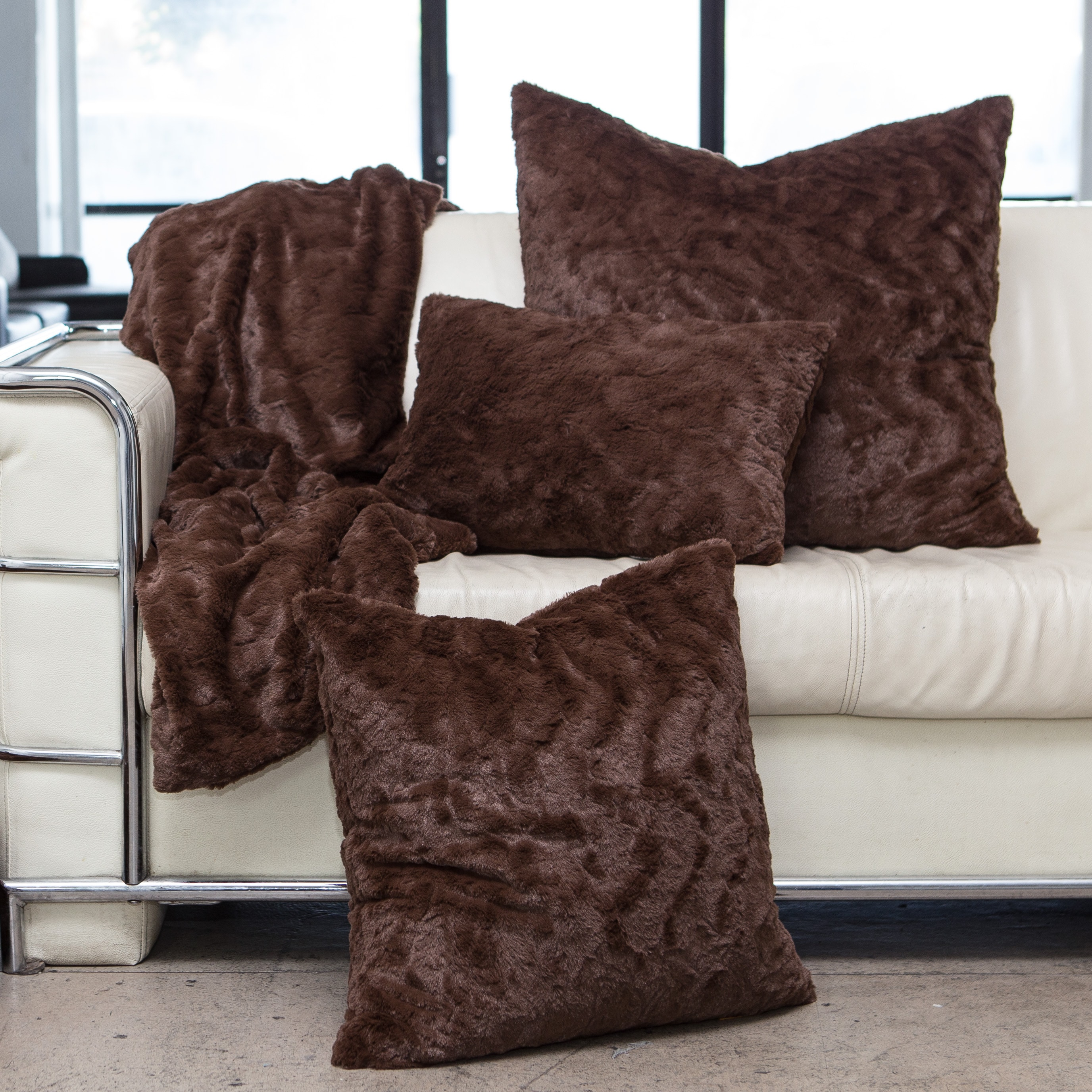 Shop Chateau By Sheri Luxurious Faux Fur Pillows Throw Andor Set
