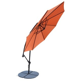 Oakland Living Troy Orange Polyester and Grey Polyresin 10-foot Cantilever Umbrella With 4-piece Polyresin Weight