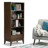 WYNDENHALL Pearson Solid Hardwood 60 inch x 24 inch Mid Century Modern Bookcase with Storage in Walnut Brown