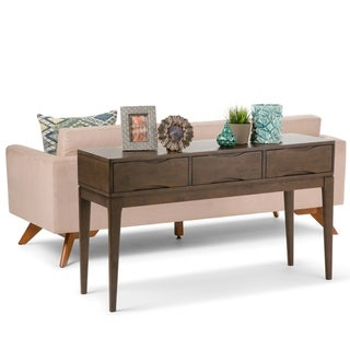 WYNDENHALL Pearson Solid Hardwood 54 inch Wide Mid Century Modern Console Sofa Table in Walnut Brown - 54 W x 16 D x 31 H