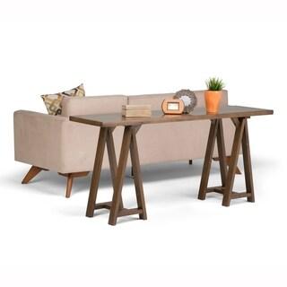 WYNDENHALL Hawkins Solid Wood 66 inch Wide Modern Industrial Wide Console Sofa Table - 66 W x 17 D x 30 H
