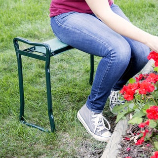 Pure Garden 24 x 19 Foldable Sit or Kneel Bench with Soft Foam Pad