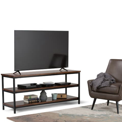 """WYNDENHALL Rhonda SOLID MANGO WOOD 60 inch Wide Industrial TV Media Stand For TVs up to 65 inches - 60""""w x 18""""d x 26"""" h"""