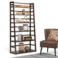 WYNDENHALL Normandy Tobacco Brown Wide Ladder Shelf Bookcase