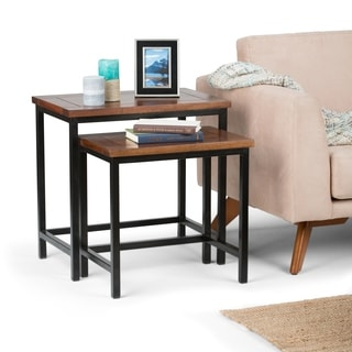 WYNDENHALL Rhonda 2-piece Nesting Side Table in Dark Cognac Brown