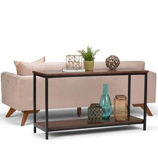 WYNDENHALL Rhonda Solid Mango Wood and Metal 54 inch Wide Modern Industrial Console Sofa Table in Dark Cognac Brown