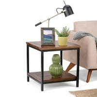WYNDENHALL Rhonda End/Side Table in Dark Cognac Brown
