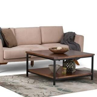 WYNDENHALL Rhonda Solid Mango Wood and Metal 34 inch Wide Square Modern Industrial Coffee Table in Dark Cognac Brown