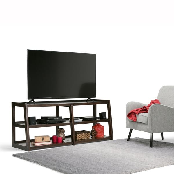 Wyndenhall Hawkins Solid Wood 60 Inch Wide Modern Industrial Tv Media Stand For Tvs Up To 65 Inches 60 W X 20 D X 26 H Overstock 13688529 Medium Saddle Brown