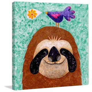 Marmont Hill - 'Sloth Happy' by Janet Nelson Painting Print on Wrapped Canvas
