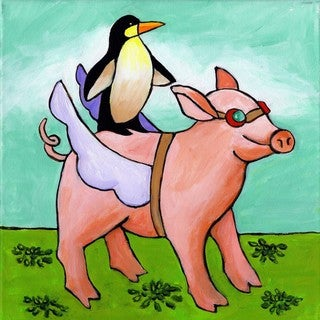 Marmont Hill - 'Pig and Penguin' by Janet Nelson Painting Print on Wrapped Canvas