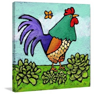 Marmont Hill - 'Rooster and Butterfly' by Janet Nelson Painting Print on Wrapped Canvas