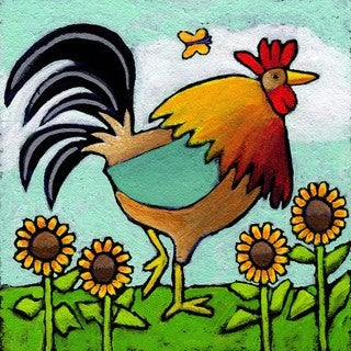 Marmont Hill - 'Rooster with Sunflowers' by Janet Nelson Painting Print on Wrapped Canvas