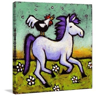 Marmont Hill - 'Rooster Rides a Horse' by Janet Nelson Painting Print on Wrapped Canvas