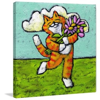 Marmont Hill - 'Tiger Cat Flower Dance' by Janet Nelson Painting Print on Wrapped Canvas