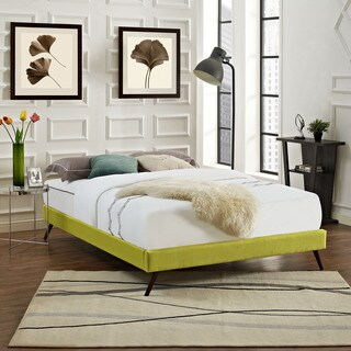 Helen Fabric Bed Frame with Round Splayed Legs in Wheatgrass