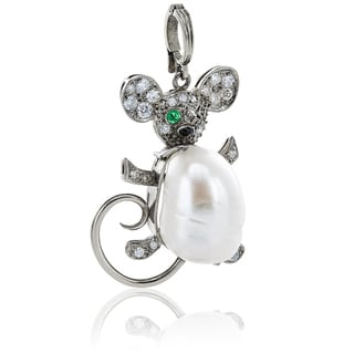 Platinum 1/2ct TDW White Diamond, Pearl, Onyx and Emerald Antique Mouse Estate Pendant Necklace (H-I, SI1-SI2)