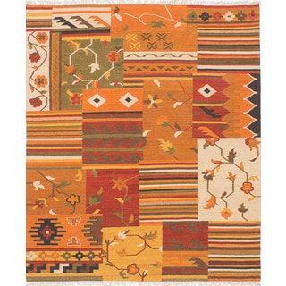 ecarpetgallery Hand-Woven Izmir Kilim Orange Wool Kilim (6'8 x 7'10)