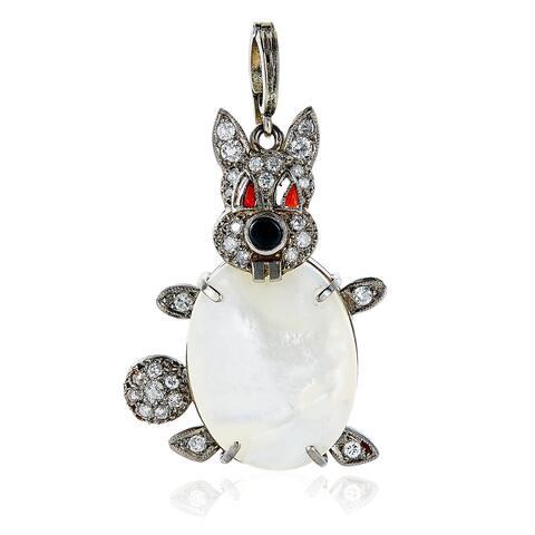 Platinum 1/2ct TDW Diamond, Pearl, Coral, and Onyx Antique Rabbit Estate Pendant Necklace (H-I, SI1-SI2)
