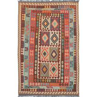ecarpetgallery Hand-Woven Hereke Kilim Ivory, Red Wool Kilim (5'9 x 9'0)
