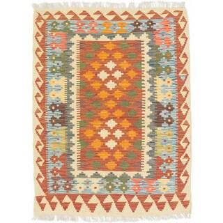 ecarpetgallery Hand-Woven Kashkoli Kilim Orange Wool Rug (3'2 x 4'2)