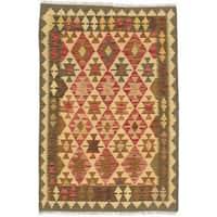 ecarpetgallery Hand-Woven Kashkoli Kilim Red, Yellow Wool Kilim (3'3 x 4'9)