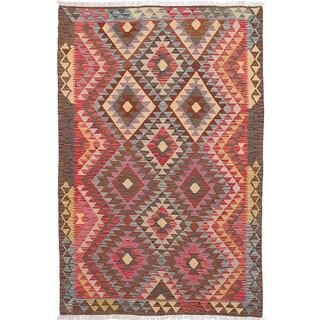 ecarpetgallery Hand-Woven Sivas Purple, Red Wool Kilim (5'5 x 8'1)