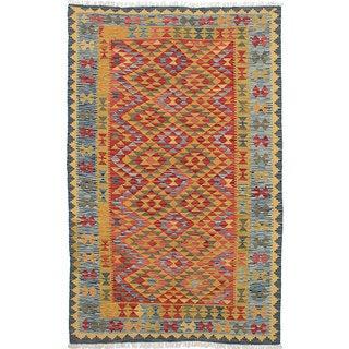 ecarpetgallery Hand-Woven Anatolian Kilim Green, Red Wool Kilim (5'2 x 8'1)