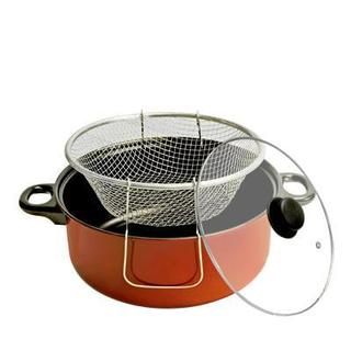Red-finished Carbon Steel 5-quart Fryer Pot With Basket and Glass Lid