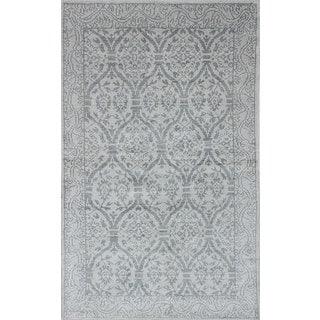 ecarpetgallery Hand-Knotted Jules Ushak Ivory Art Silk Rug (4'11 x 7'10)