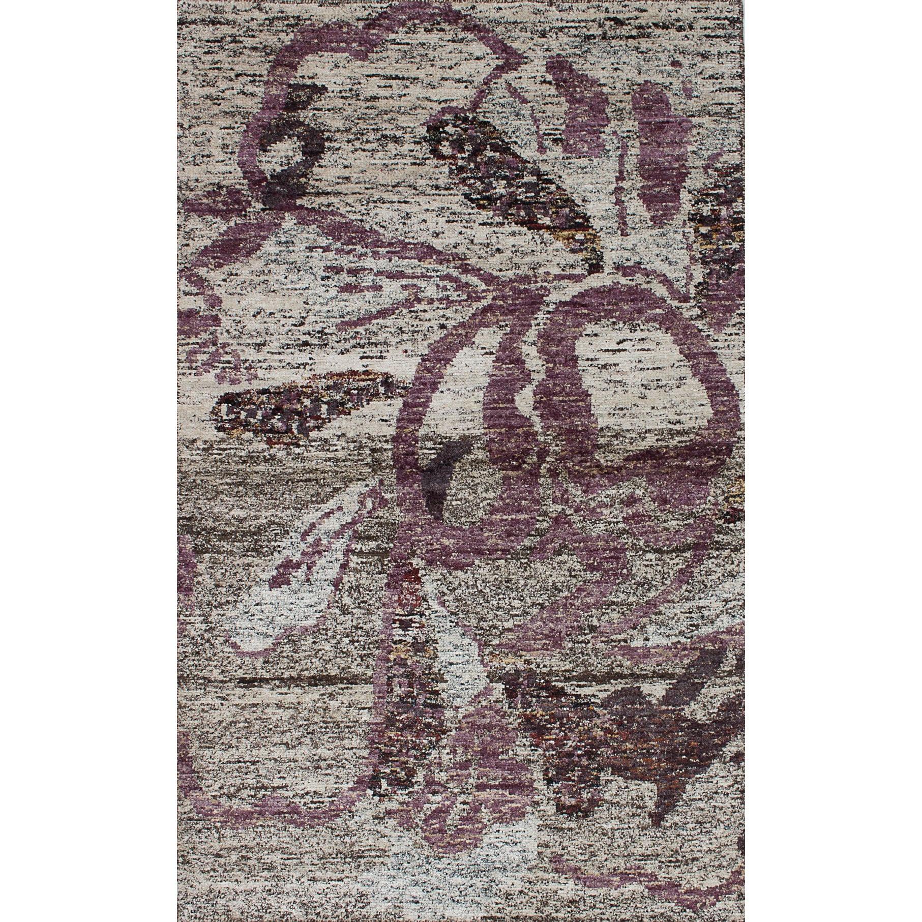 Ecarpetgallery Hand-Knotted Ivory/ Purple Sari Silk Rug (...