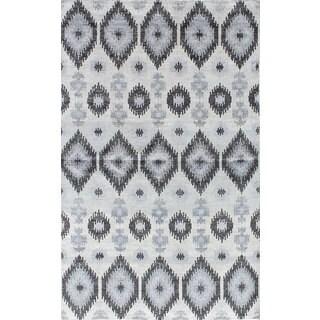 ecarpetgallery Hand-Knotted Jules Ushak Grey Art Silk Rug (4'9 x 7'9)
