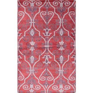 ecarpetgallery Hand-Knotted Jules Ushak Red Art Silk Rug (4'11 x 7'11)