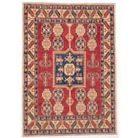 ecarpetgallery Hand-Knotted Finest Gazni Red Wool Rug - 5'4 x 7'5